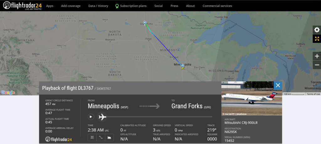Delta Air Lines flight DL3767 from Minneapolis to Grand Forks suffered a bird strike