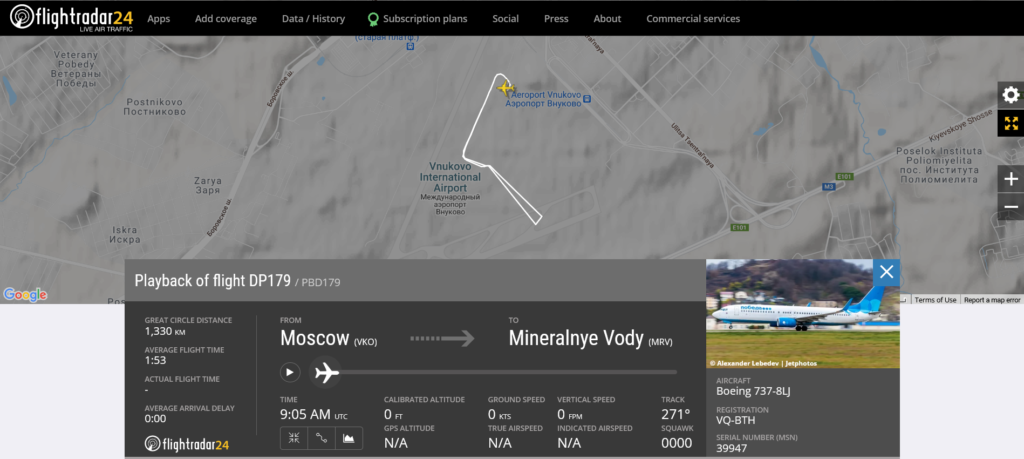 Pobeda flight DP179 from Moscow to Mineralnye Vody rejected takeoff due to anti-ice system issue