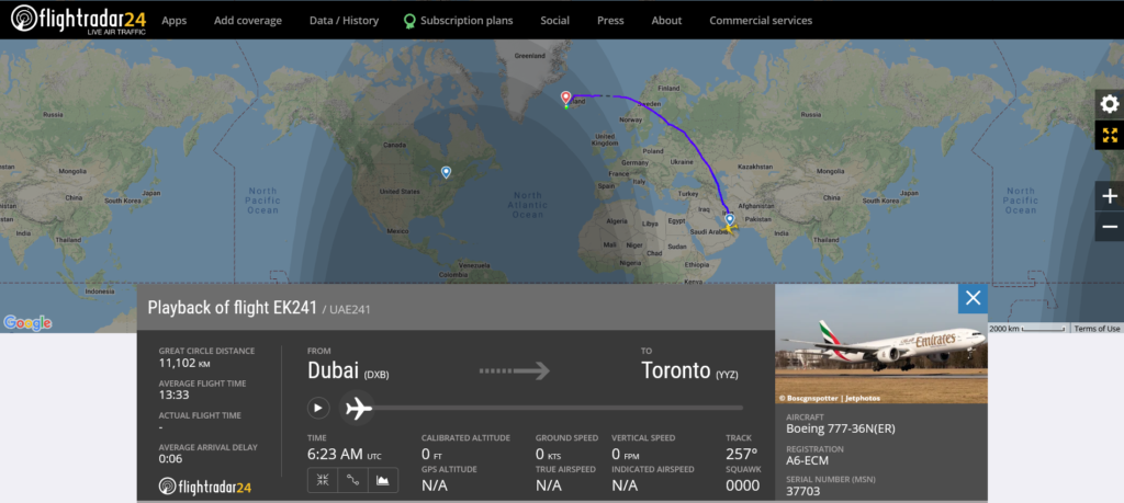 Emirates flight EK241 from Dubai to Toronto diverted to Reykjavik