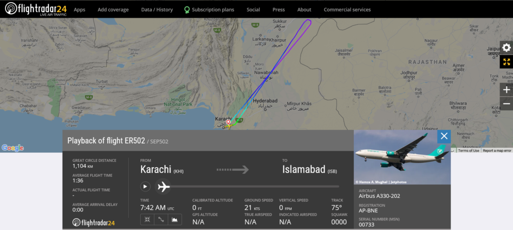 Serene Air flight ER502 from Karachi to Islamabad returned to Karachi due to engine issue