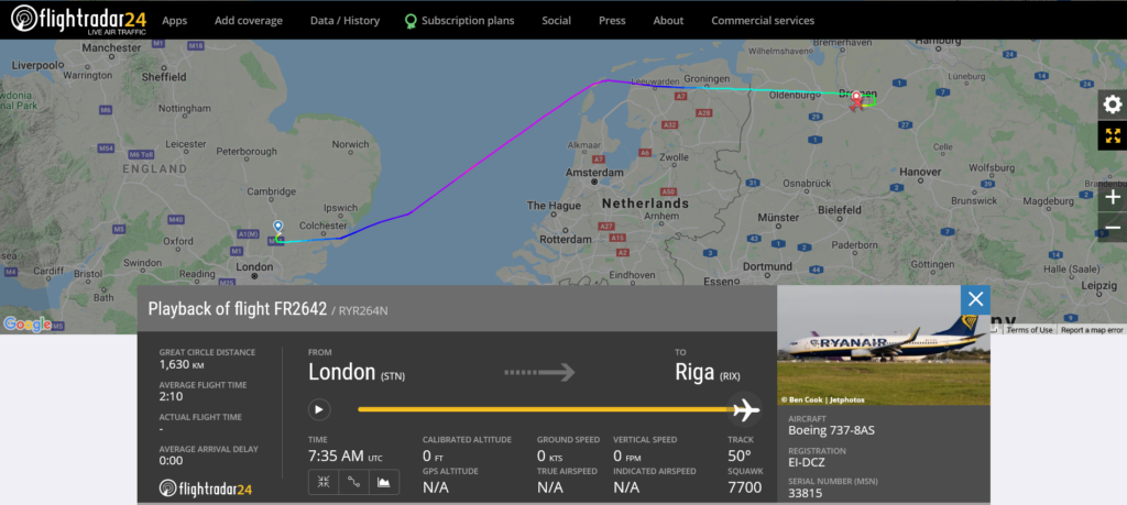 Ryanair flight FR2642 from London to Riga declared an emergency and diverted to Bremen
