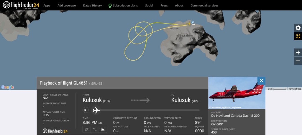 Air Greenland flight GL4651 from Kulusuk to Nuuk returned to Kulusuk after an engine shut down