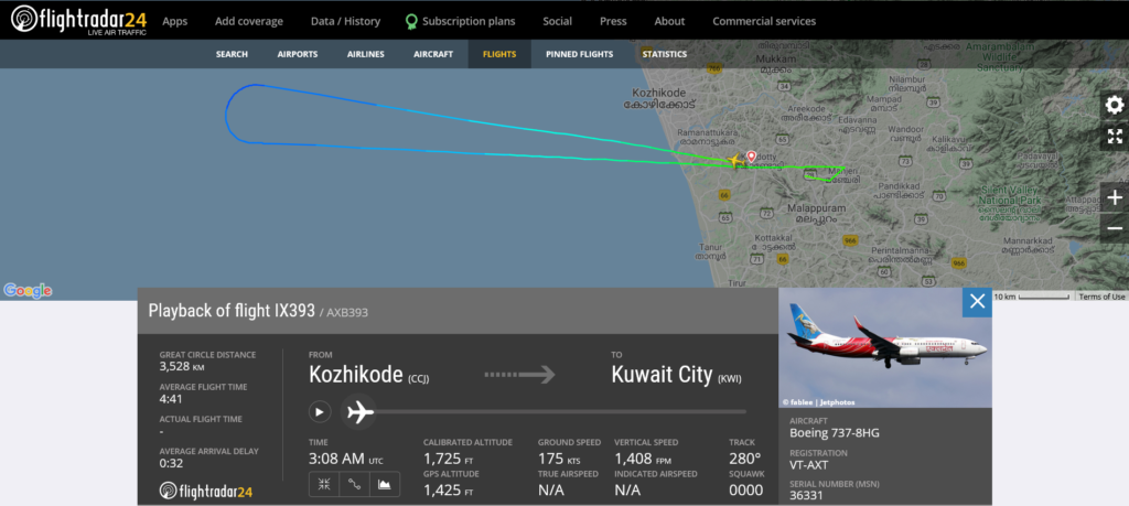 Air India Express flight IX393 from Kozhikode to Kuwait City returned to Kozhikode due to smoke indication in cargo hold