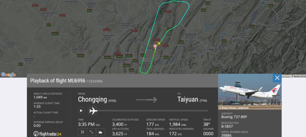 China Eastern Airlines flight MU6996 from Chongqing to Taiyuan returned to Chongqing due to bird strike
