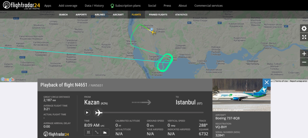 Nordwind flight N4651 from Kazan to Istanbul diverted to Moscow due to landing gear issue