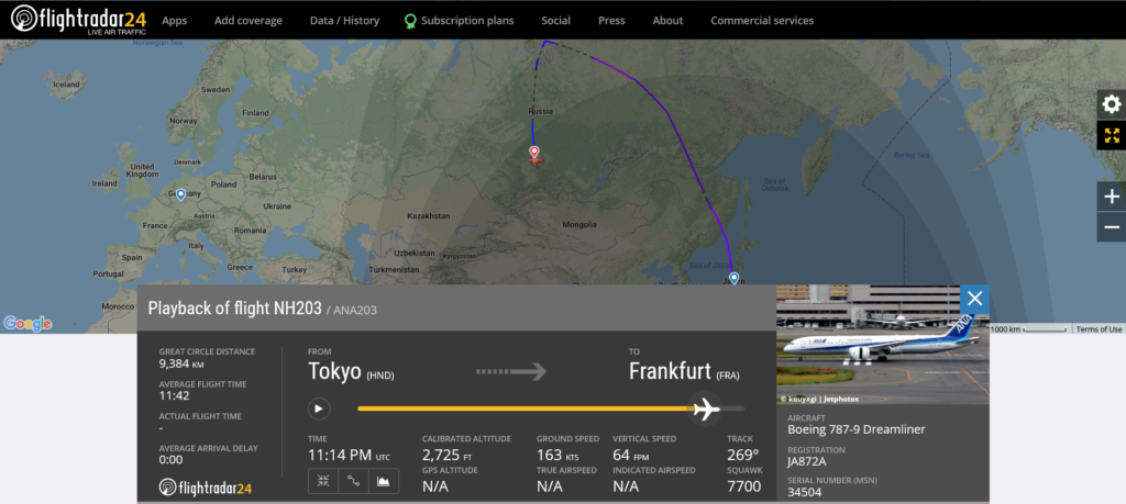 All Nippon Airways flight NH203 from Tokyo to Frankfurt declared an emergency and diverted to Krasnoyarsk due to engine oil quantity and pressure issue