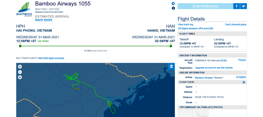 Bamboo Airways flight QH1055 from Haiphong to Con Dao diverted to Hanoi due to bird strike