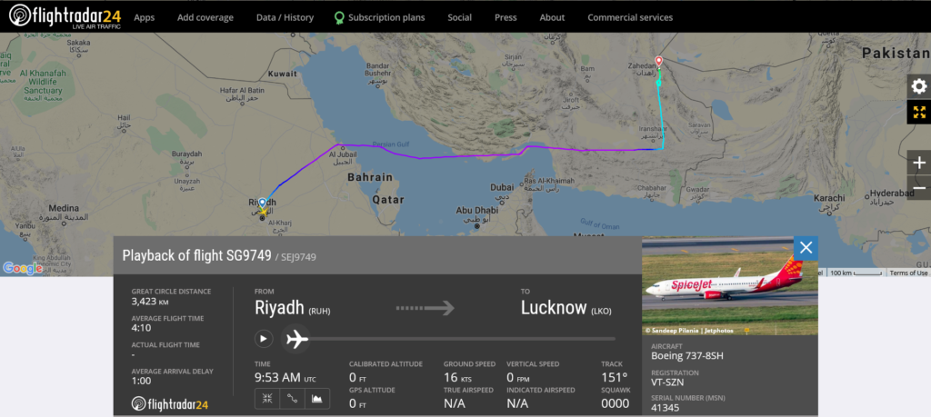 SpiceJet flight SG9749 from Riyadh to Lucknow diverted to Zahedan after windshield outer pane cracked