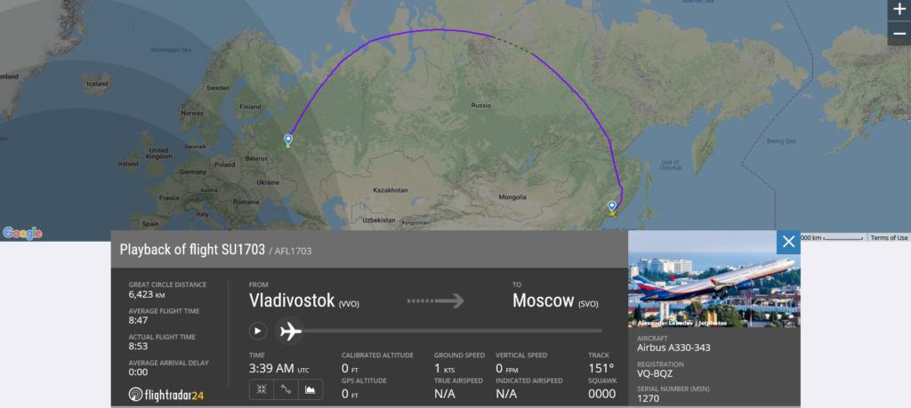 Aeroflot flight SU1703 from Vladivostok to Moscow suffered lightning strike