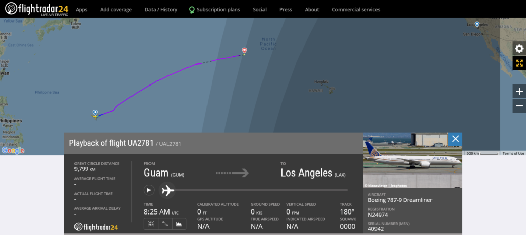 United Airlines flight UA2781 from Guam to Los Angeles diverted to Midway Atoll due to mechanical issue