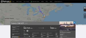 United Airlines flight UA79 from New York to Tokyo returned to New York after air-conditioning issue
