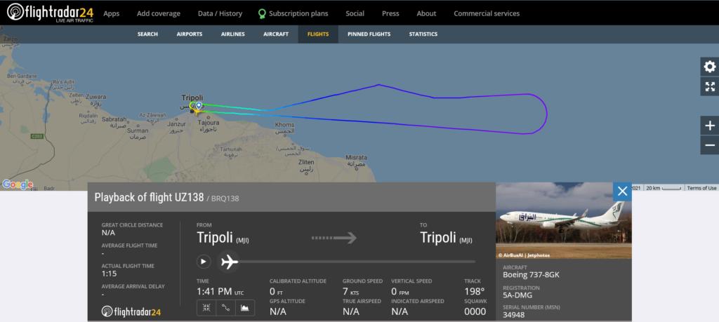 Buraq Air flight UZ138 from Tripoli to Alexandria returned to Tripoli due to technical issue