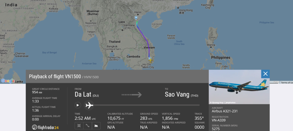 Vietnam Airlines flight VN1500 from Da Lat to Sao Vang suffered bird strike