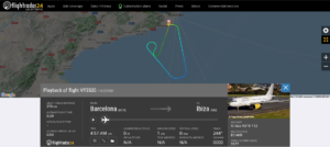 Vueling flight VY3500 from Barcelona to Ibiza returned to Barcelona after engine shut down