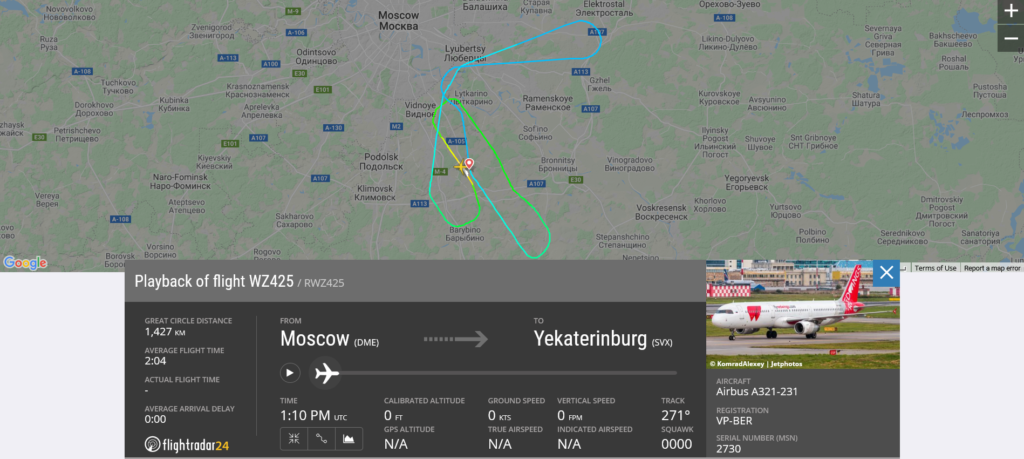 Red Wings Airlines flight WZ425 from Moscow to Yekaterinburg returned to Moscow due to computer issue
