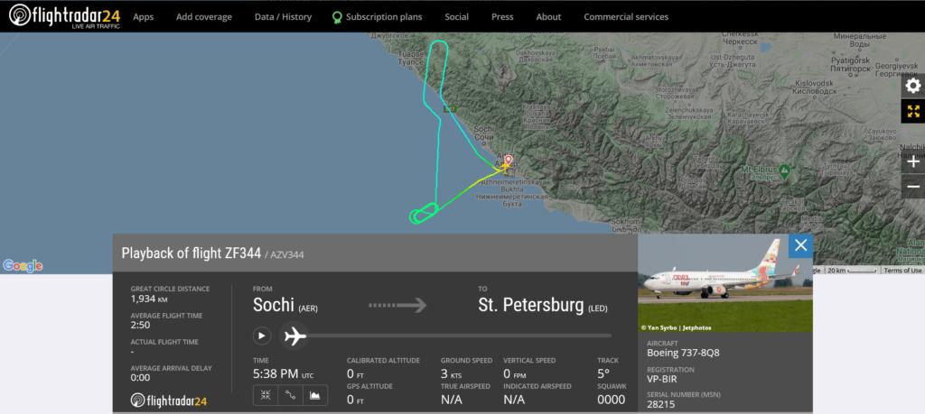 Azur Air flight ZF344 from Sochi to St. Petersburg returned to Sochi due to pressurisation issue