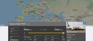 Ryanair flight FR4978 from Athens to Vilnius declared an emergency and diverted to Minsk after crew was notified by Belarus (ATC) of potential security threat on board