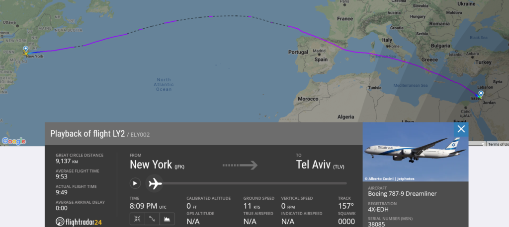 El Al flight LY2 from New York to Tel Aviv was escorted by fighter aircraft due to potential security threat on board