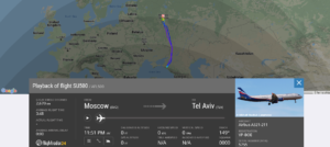 Aeroflot flight SU500 from Moscow to Tel Aviv returned to Moscow due to pressurisation issue