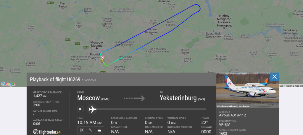 Ural Airlines flight U6269 from Moscow to Yekaterinburg returned to Moscow due to autopilot and autothrust issue