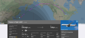 United Airlines flight UA881 from Chicago to Tokyo suffered slat issue