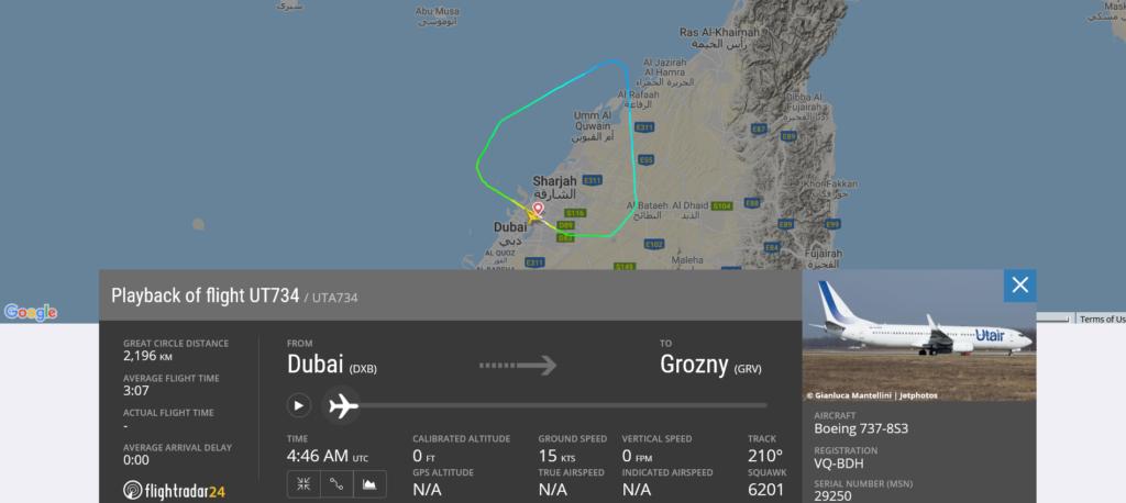 UTAir flight UT734 from Dubai to Grozny returned to Dubai due to landing gear issue