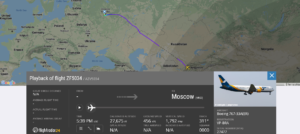 Azur Air flight ZF5034 from Fergana to Moscow suffered a stabilizer issue