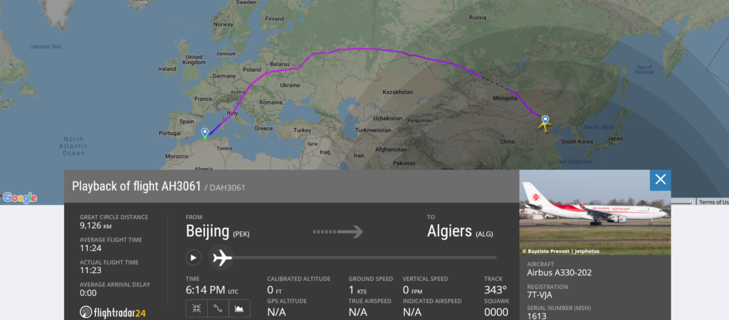 Air Algerie flight AH3061 from Beijing to Algiers suffered engine issue