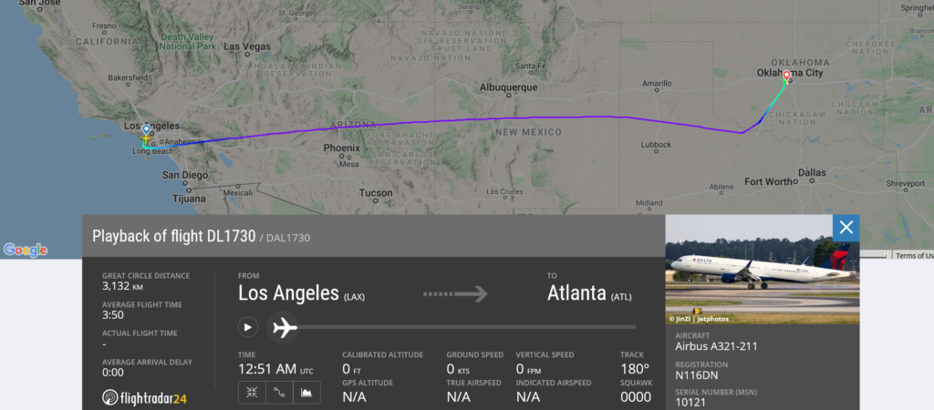 Delta Air Lines flight DL1730 from Los Angeles to Atlanta diverted to Oklahoma City due to unruly passenger