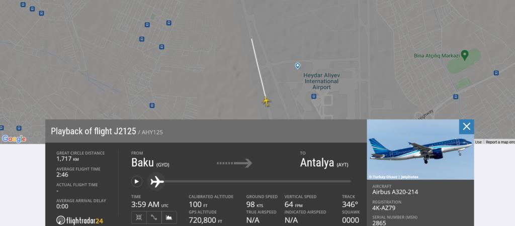 Azerbaijan Airlines flight J2125 from Baku to Antalya rejected takeoff due to bird strike