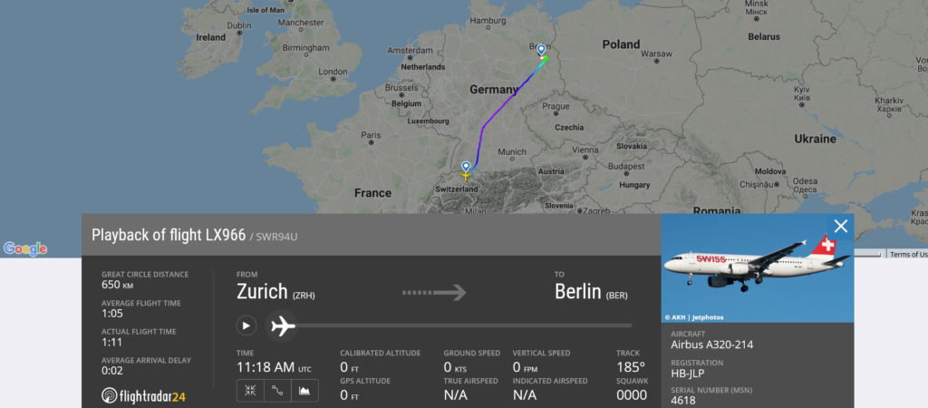 During Swiss flight LX966 from Zurich to Berlin smoke/fumes in cockpit appeared