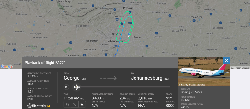 Safair flight FA221 from George to Johannesburg suffered a hydraulic issue