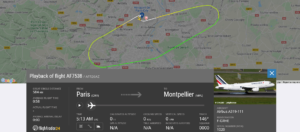 Air France flight AF7538 from Paris to Montpellier returned to Paris due to bird strike