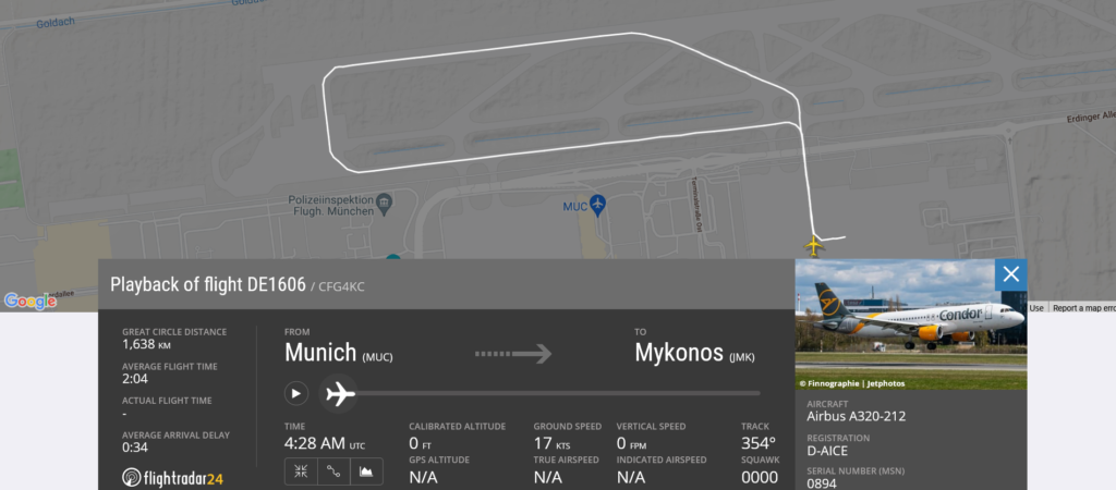 Condor flight DE1606 from Munich to Mykonos rejected takeoff due to airspeed disagree