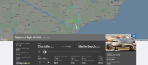 American Airlines flight AA1603 from Charlotte to Myrtle Beach suffered possible mechanical issue