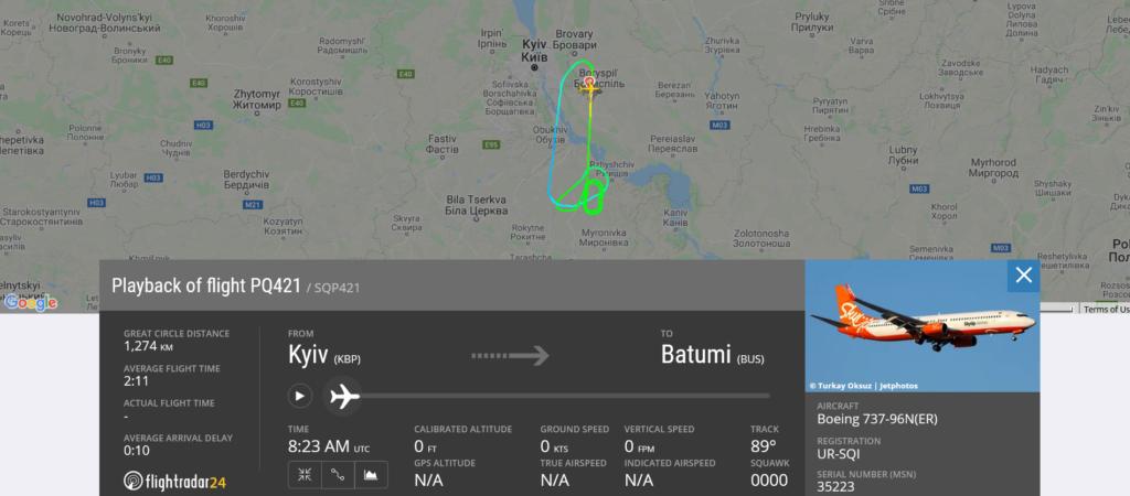 SkyUp flight PQ421 from Kyiv to Batumi returned to Kyiv due to odor on board