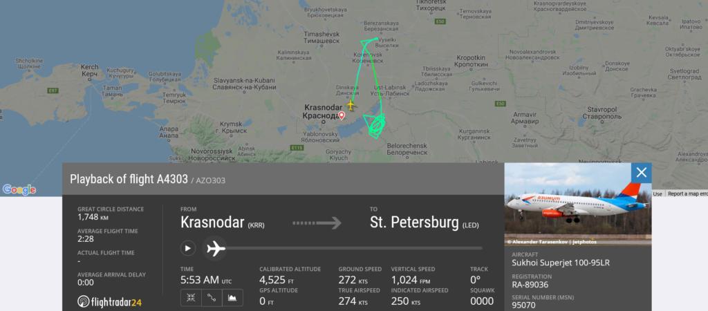 Azimuth flight A4303 from Krasnodar to St. Petersburg returned to Krasnodar due to technical issue
