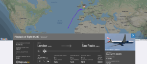 British Airways flight BA247 from London to Sao Paulo returned to London due to technical issue
