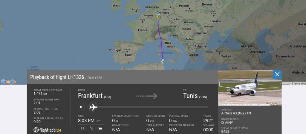 Lufthansa flight LH1326 from Frankfurt to Tunis suffered bird strike