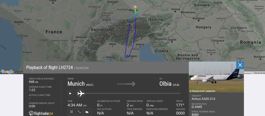 Lufthansa flight LH2724 from Munich to Olbia returned to Munich due to slat issue