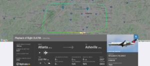 Delta Air Lines flight DL4786 from Atlanta to Asheville returned to Atlanta due to flaps issue