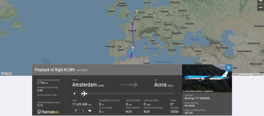 KLM flight KL589 from Amsterdam to Accra diverted to Palma de Mallorca due to smoke indication in cargo hold