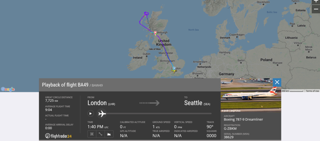 British Airways flight BA49 from London to Seattle diverted to Glasgow due to technical issue