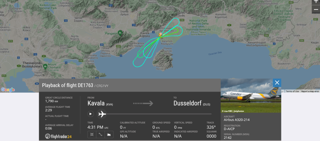 Condor flight DE1763 from Kavala to Dusseldorf returned to Kavala due to landing gear issue
