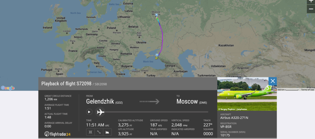 S7 Airlines flight S72098 from Gelendzhik to Moscow suffered landing gear issue