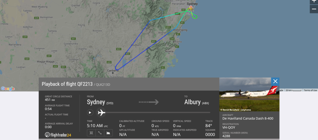 Qantas flight QF2213 from Sydney to Albury returned to Sydney due to landing gear issue