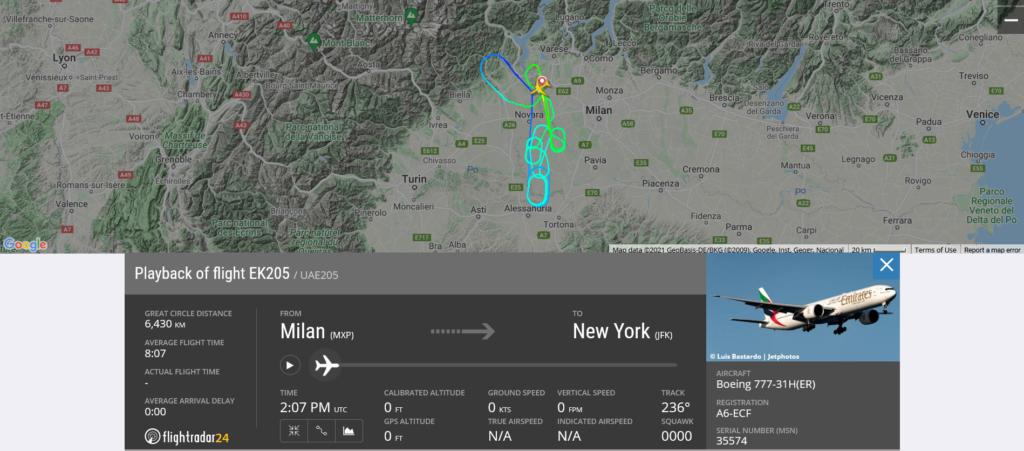 Emirates flight EK205 from Milan to New York returned to Milan due to a hail strike