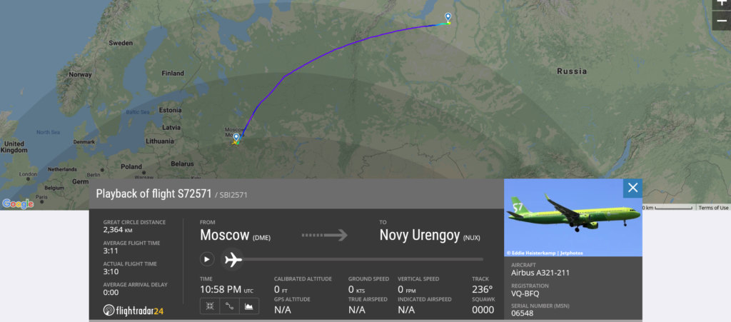 S7 Airlines flight S72571 from Moscow to Novy Urengoy suffered possible pressurisation issue