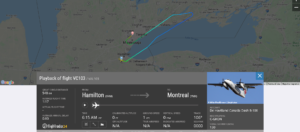Voyageur Airways flight VC103 from Hamilton to Montreal diverted to Toronto after engine shut down