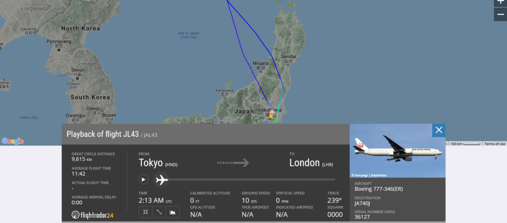 Japan Airlines flight JL43 from Tokyo to London returned to Tokyo due to cracked windshield